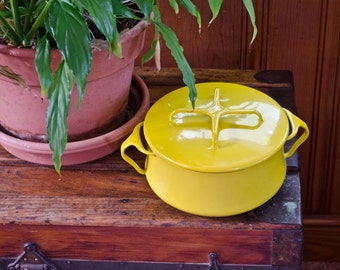 Medium sized Bright Mustard Yellow Dansk Dutch Oven, vintage soup and stew pot, enameled dutch oven