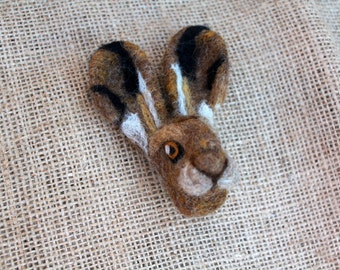 Needle Felted Brown Hare Brooch Jewellery Handmade OOAK