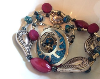 Native turquoise and spanish silver necklace