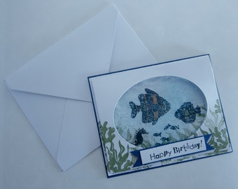 Gel Water Effect fish Themed Handmade Decorative 3D Greeting Card For All Occasions (8 Greeting Options Available)