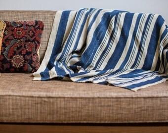 ON SALE Vintage Indigo Stripe Throw 3.5x4.5