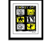 Original Blockprint Woodcut - Smokey Cat