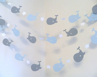 Whale nursery Garland / Whale baby shower Decorations / Blue & Gray Whale Nursery Decoration - nautical Baby Shower Garland / Custom colors