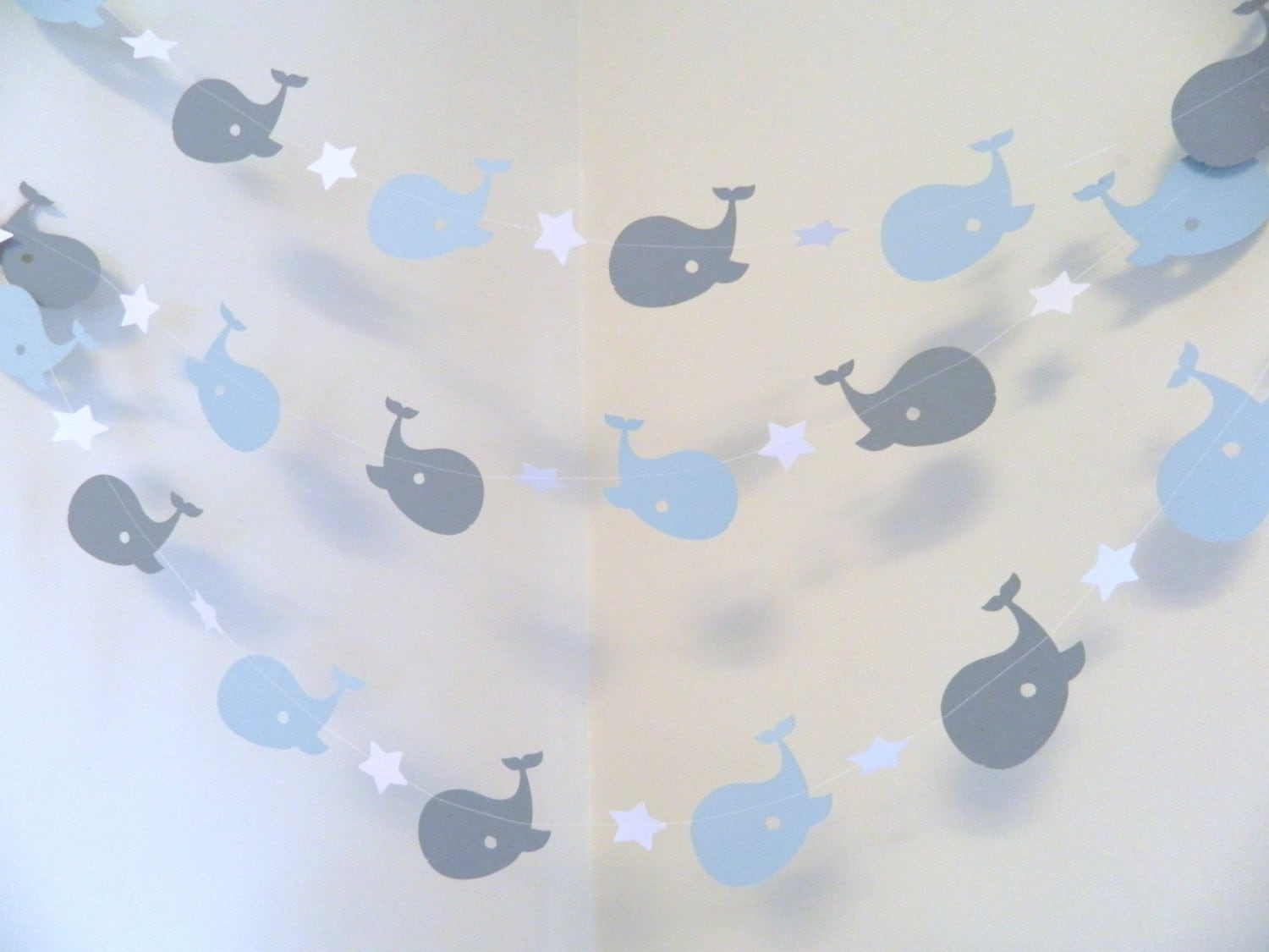 whale nursery garland whale baby shower decorations blue