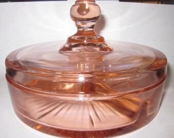 Elegant Vintage Pink Crystal Lid Candy Dish