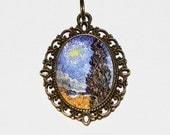 Cypress And Star Necklace, Van Gogh, Star Jewelry, Tree Necklace, Night Sky, Oval Pendant
