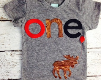 Moose Birthday shirt Customize colors Boys Girls Organic Blend Birthday Tee first second etc birthday Red woodgrain and black