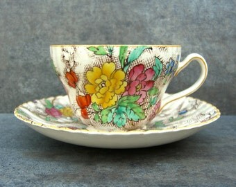 English Chintz Cup & Saucer, Antique Teacup England, Booths Tapestry, Mix N Match Tea Party, Bridal Shower