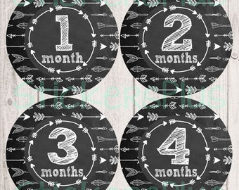 Monthly Baby Stickers Boy Girl Gender Neutral Month Milestone Bodysuit Stickers Plus FREE Gift Chalkboard Chalk Arrow Tribal Arrows Nursery