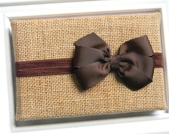 Brown Bow Headband - Newborn Bow Headband - Baby Bow Headband