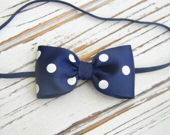 Navy Polka Dot Bow Headband - Newborn Bow Headband - Navy Bow Headband
