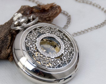 1pcs Large  Watch Charms Pendant with chain /pocket watch/Bridesmaid , Christmas gifts, friends, children's gifts