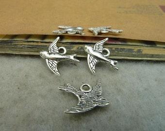 50pcs 15x16mm Ancient silver bird  Charm Pendant