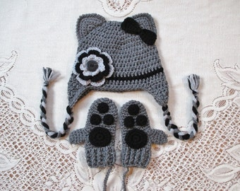 Shades of Grey and Black Kitty Cat Hat and Mitten Set - Photo Prop - Available in Baby to Toddler Size - Any Color Combination