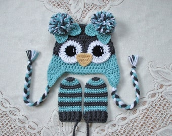 READY TO SHIP - 6 to 12 Month Size - Charcoal Grey and Aqua Owl Crochet Hat and Mitten Set - Photo Prop
