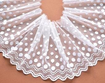 White Polka Dot Lace Trim, White Lace, Wedding Dress,  Dolls, 50's Vintage Style Lace Trim