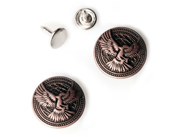 10 sets 20mm buttons No Sew  jeans tack Metal buttons  Copperish color button fastener with manual - Hawk