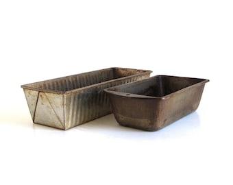 Old Bread Pans Loaf Tins, Long Ribbed Unmarked or Bake King H11, Vintage Bakeware Food Photography Props
