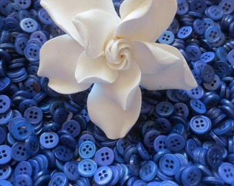 Blue Pearlized Buttons Bulk Lot Small 4 Hole 375 grams Indigo Tonal DIY Crafting Sewing