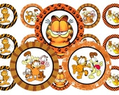 """1"""" Garfield And Friends Bottle Cap Image Sheets Party Favors Cupcake Topper Magnet Stickers Printables Instant Download."""