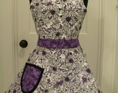 Womens Apron-Purple & White Floral Full Sweetheart Apron-LAST ONE