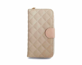 Handmade vegan leather wallet purse Beige - the Quilt