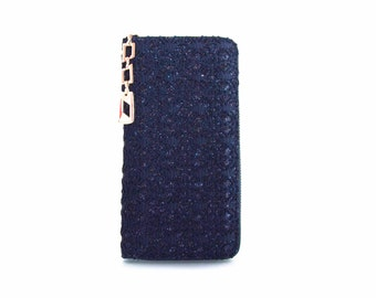 Leather Wallet  in Vegan Leather and lace Blue Handmade  - the Lace