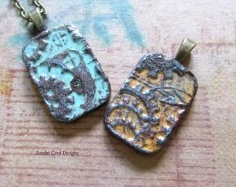 Clay Pendant, Aqua and Bronze, Steampunk Pendant, Clay Necklace, Bronze and Aqua, Jewelry Supply
