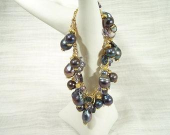 10 Karat Gold Bracelet Chain with Blue Tahitian Pearls, London Blue  & Mystic Blue Topaz, and Iolite Drops 240BA