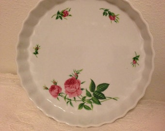 Vintage Rose Pie Plate/ Quiche Dish