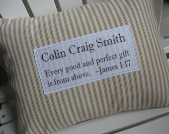 Personalized Baby Pillow, Baby Gift, Baby Shower, Ticking Stripe Pillow, Custom Name, Handmade Baby Gift, Tan, Newborn, Infant, Bible Verse