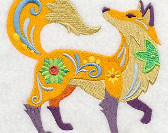 Flower Power Fox Embroidered Flour Sack Hand/Dish Towel