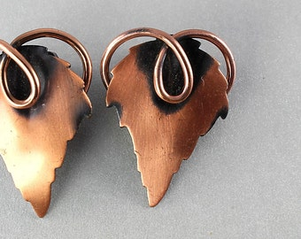 Renoir copper Earrings, Grape Leaf Earrings, Leafsong vintage 1960s autumn jewelry