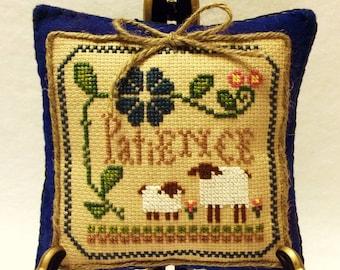 Completed Primitive Patience Cross Stitch~ cupboard tuck~ shelf sitter~ Miniature Pillow ~Home Decor