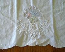 White Cotton Needlework Tea Towel / Hand Embroidered / Pink flower / Blue Flower /  vintage Tea Towel / Kitchen Towel / Shabby Chic /Cottage