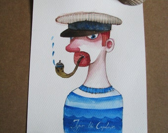 Igor the captain-original sailor painting- original watercolor illustration-kids art-original  painting