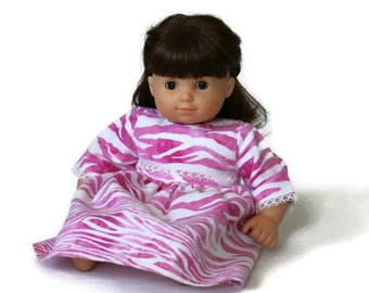 Pink Doll Nightie Zebra Stripes Print White Flannel Pajamas Nightgown Lace Bitty Twin 14 to 16 inch Baby Doll - US Shipping Included
