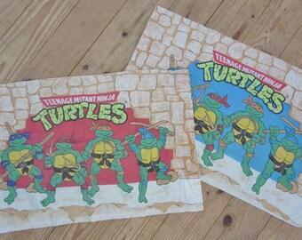 Teenage Mutant Ninja turtle pillowcase pair red blue 1980's