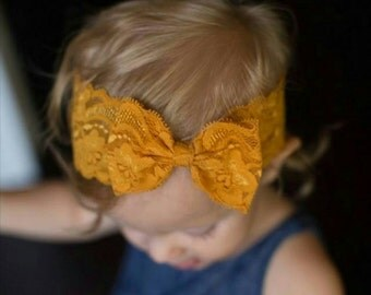 New { the Addy } mustard bow headband . Newborn, toddler, child, teen, adult