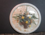 Vintage Flowers Under Glass Picture