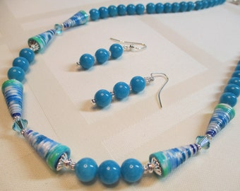 Blue and Green Paper Bead Necklace with Bright Blue Jade Beads