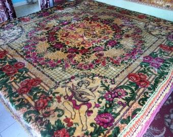 """Vintage Gypsy Bedspread, Italian Velvet, 85""""w. x 100""""l."""