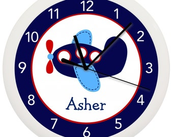 Blue and Red Airplane Nursery Wall Clock