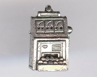 SLOT MACHINE Charm. Pewter. 3D One-Armed Bandit. Made in the USA.