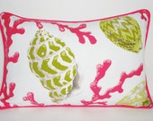 OUTDOOR  Pink Coral Decorative Pillow Cover Green Pink Shell Lumbar Throw Pillow Cover Size 12x18