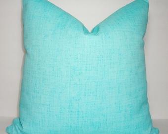 OUTDOOR Pillow Cover Solid Aqua Blue Patio Deck Pillow Cover Blue Outdoor Pillow Cover 18x18