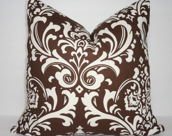 Decorative Brown & Ivory Damask Pillow Cover Brown Damask Pillow Cover 18x18