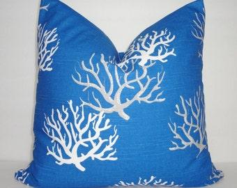 NEW Cobalt Blue Coral Pillow Cover Royal Blue Grey White Coral Pillow Cover All Sizes
