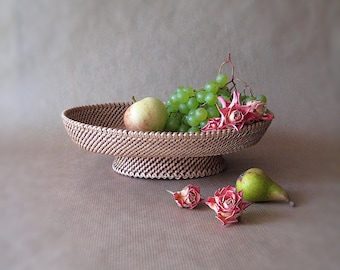 Woven fruit basket on foot Handwoven basket Rustic table centerpiece Eco gift home decor Harvest table decor