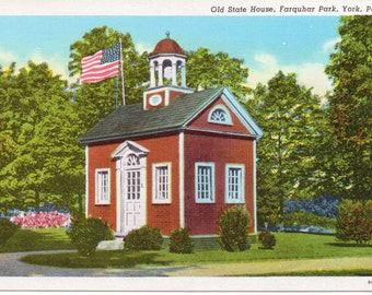 Farquhar Park, Old State House, York, Pennsylvania - Linen Postcard - Unused (W)